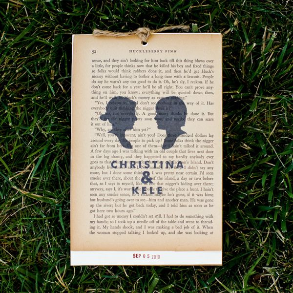 literary theme wedding invites - get pages from russian novels - stamp name and date over the top - use library stamp!