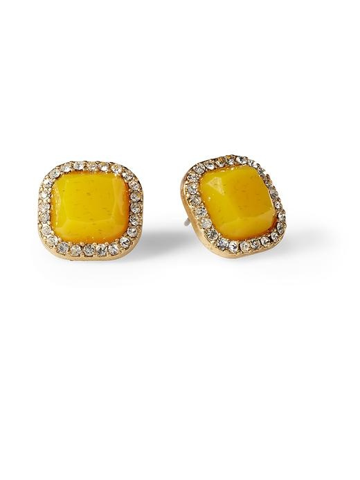 Pave Square Stud Earring: Yellow Studs, Jewels Pave, Squares Studs, Jewelry Accessories, Yellow Earrings, Pretty Yellow, Studs Earrings, Pave Squares, Pave Studs