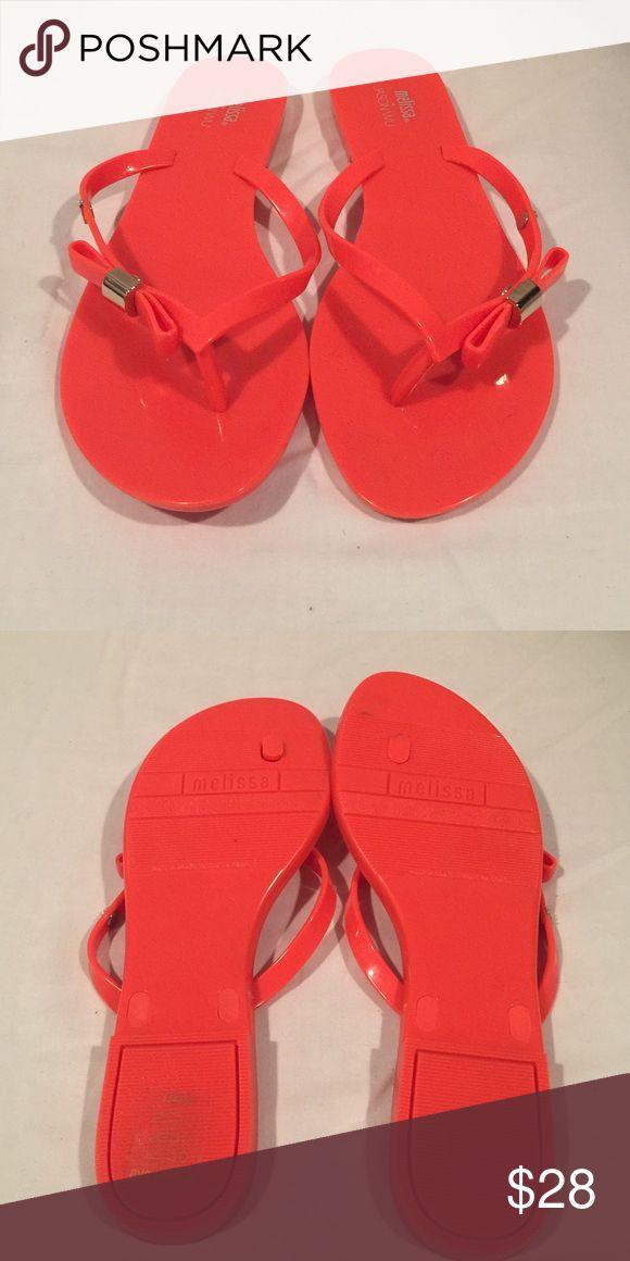 | nwt | Neon Orange Melissa Flip Flop | nwt | Neon Orange Melissa Flip Flop with Bow Melissa Shoes Sandals