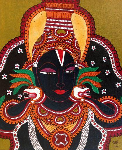 danielwamba:  Kerala Mural Vitthala Vithoba Painting Handmade South Indian Hindu Ethnic Art   Om Bhagavan