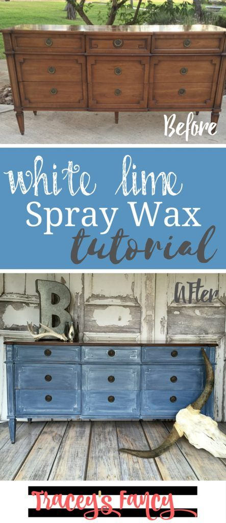White Lime Spray Wax Tutorial & Learning Curve | Tracey's Fancy Learn how to get a white wash over a dark paint color finish using these painting tips for a beautiful furniture makeover