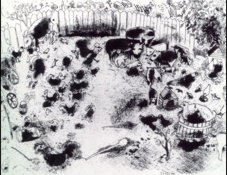 Korobotchka's poultry house - Chagall Marc