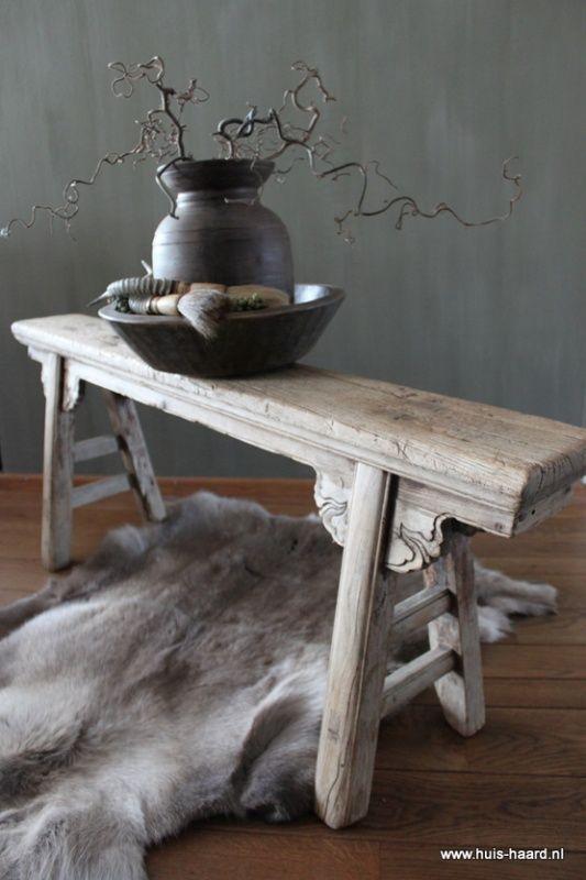 Oud Chinees houten bankje