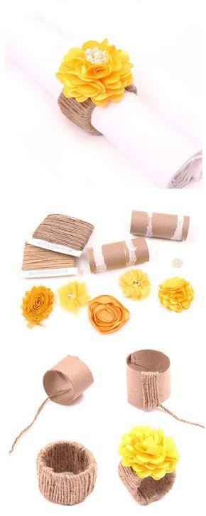 Ronds de serviettes en rouleaux de papier toilette et ficelle.  16 splendides décorations de mariage à faire soi-même
