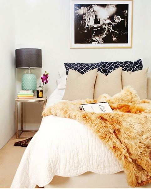 Love the idea of all white bedding with a fluffy faux fur for White fur bedroom