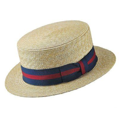 Hatte+-+Straw+Boater+Hat+Striped+Band+(natur)