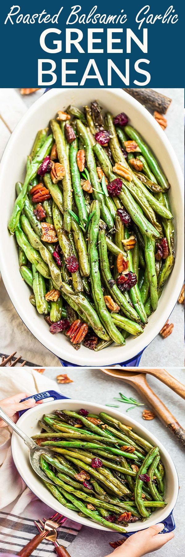 Roasted Green Beans with garlic & balsamic - the perfect simple side dish. Best of all, an easy recipe for busy weeknights or fancy enough for holiday meals
