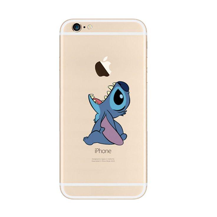 Disney Lilo & Stitch Cartoon Eat Apple iPhone 6s 6 Plus SE 5s 5 Soft Clear Case