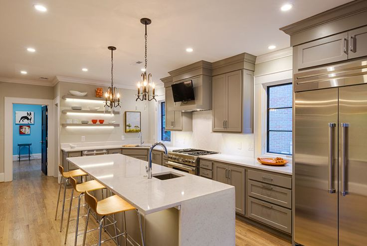 The lighting in this kitchen features LED recessed downlights from the Halo family.