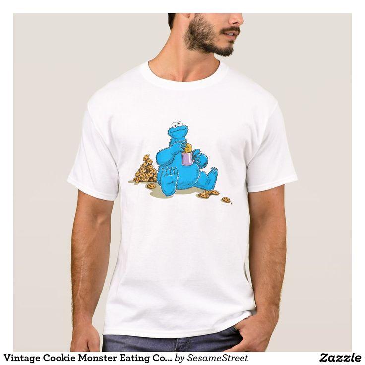 Vintage Cookie Monster Eating Cookies. Regalos, Gifts. #camiseta #tshirt