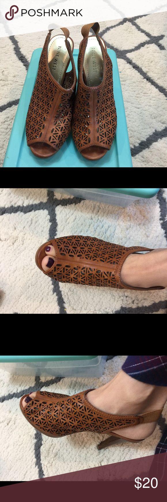 NINE WEST sandals wedge slingback Brown sz 5.0M NINE WEST sandals wedge slingback Brown sz 5.0M Nine West Shoes Heels