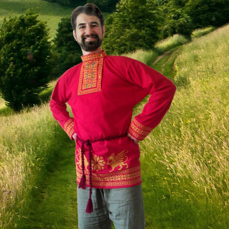 Mens shirt traditional Russian style.  The pattern used ancient sacred symbols, for centuries embroider on Russian soil. Alatyr – a star with eight peaks. This ancient symbol represents the development in motion. Alatyr – white-hot stone is the beginning and the center of the World, Eye Kind, precisely because it is born and shines a Light rod Almighty but Gods grace. Yar-Ga - the movement of the Sun (Yar-Yarylo) (Ga - way, the beginning of movement). Eternal sign of the circulation of the…