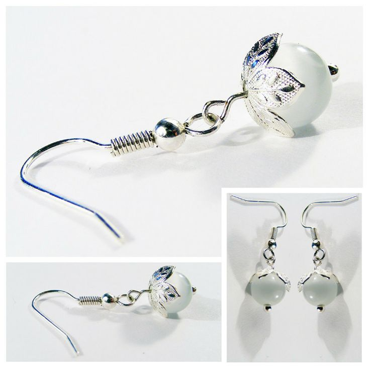 Moon River: Elegant silver-blue drop earrings with petal detail.