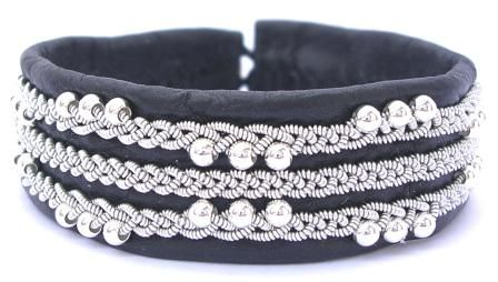 Black leather #bracelet with Sterling Silver beads from AC Design