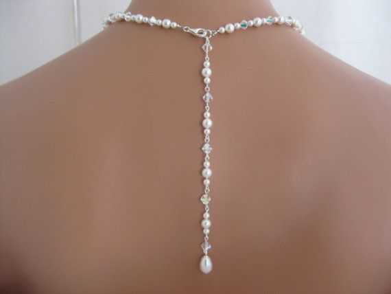 pearl backdrop necklace wedding jewelry by Clairesparklesbridal