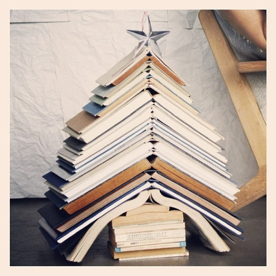 christmas tree book stack