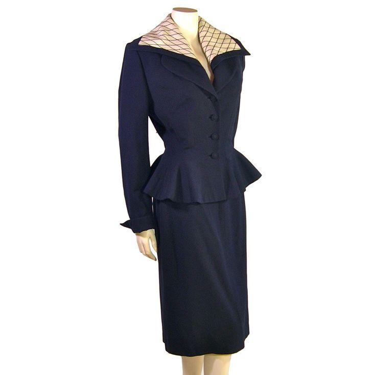 Vintage Lilli Ann Suit In Navy Blue Peplum Jacket 1940s