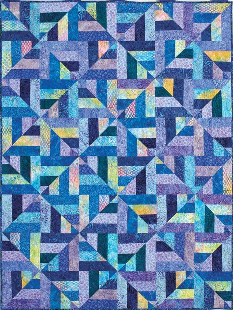 "Cool Water quilt - 46x61"", 15 1/4"" blocks - strip piecing Inspired by Bonnie Hunter's 2½""-strip scrap quilt, Strip Twist!, Kris Peterson transformed a gift of pre-cut batik strips into this great quilt."