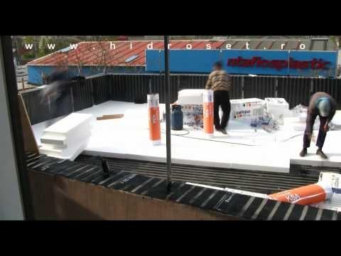 Waterproofing applications for green roof/ garden terrace  (Bauder membranes coating) Hidroizolatii detaliu acoperis terasa.