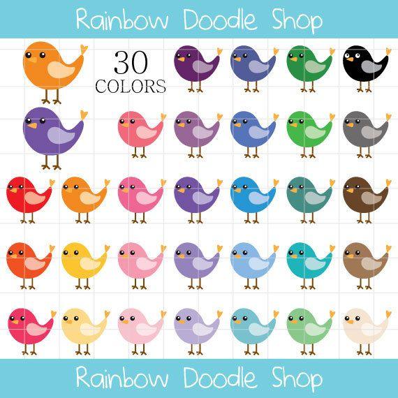 Vogel Clipart illustraties van vogels vogel door rainbowdoodleshop