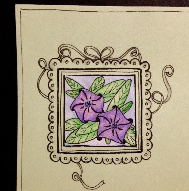 Every Inchie Monday Petunia | My entry for the challenge Every Inchie Monday. I chose the tangle pattern named petunia for this one.