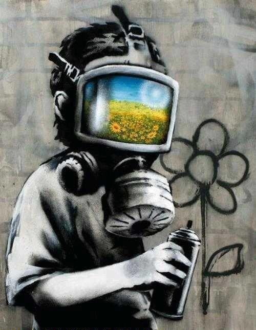 Banksy um grande artista de rua, seus trabalhos são realmente incríveis e revolucionários.