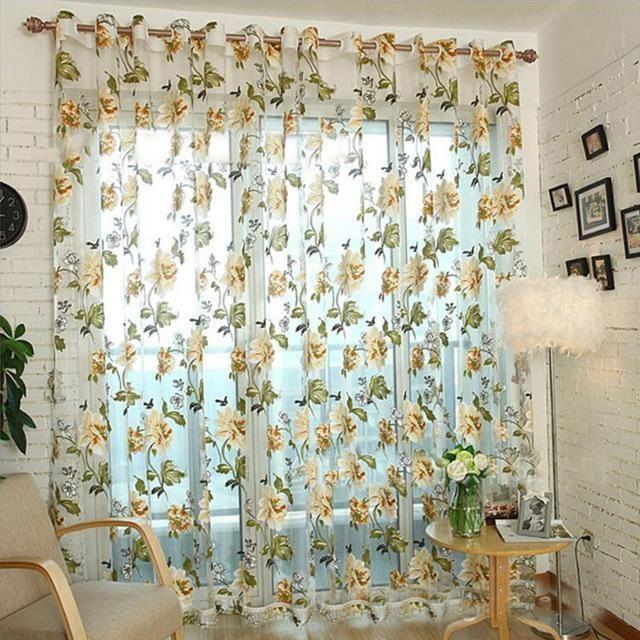 Kitchen Window Treatments Peony Flowers Tulle Sheer Curtains Beige Purple