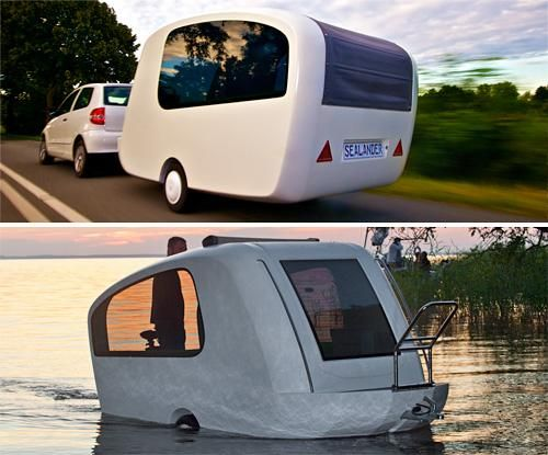 Sealander Amphibious Camping Trailer!  Shut up!  Now this is cool!