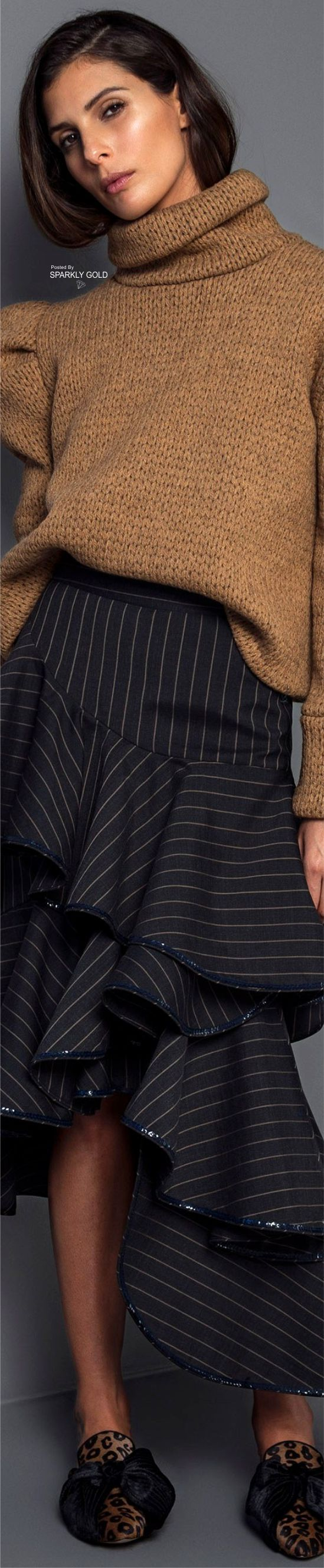 Johanna Ortiz F-17 RTW: turtleneck sweater, ruffled striped skirt, leopard shoes.