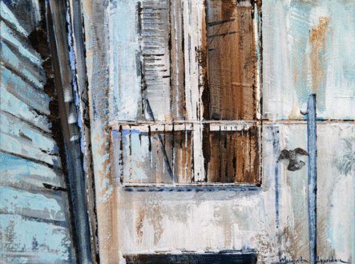 ALLEY WINDOW - Margarita Lypiridou - 12'' x 16'' - technique mixte sur toile
