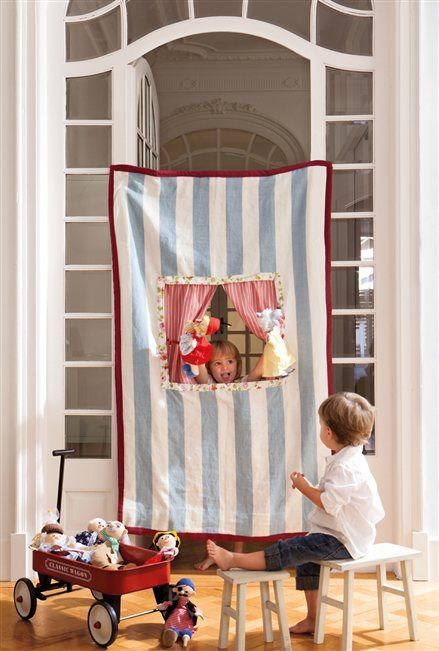 A fabric puppet theater you can roll up and put away