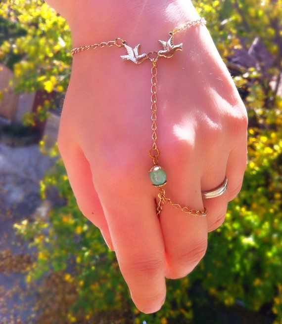 Delicate and feminine lovebirds wrist to ring bracelet with aqua accents. on Etsy, $22.83