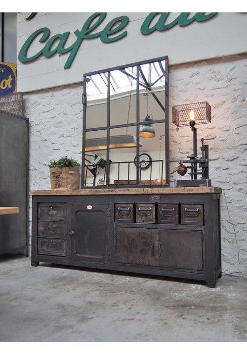 etabli d 39 atelier bois et metal meuble relooke. Black Bedroom Furniture Sets. Home Design Ideas