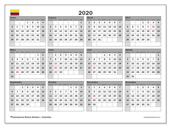 Calendario Febrero 2020 Colombia.Calendario 2020 Colombia Calendario Calendario Mensual