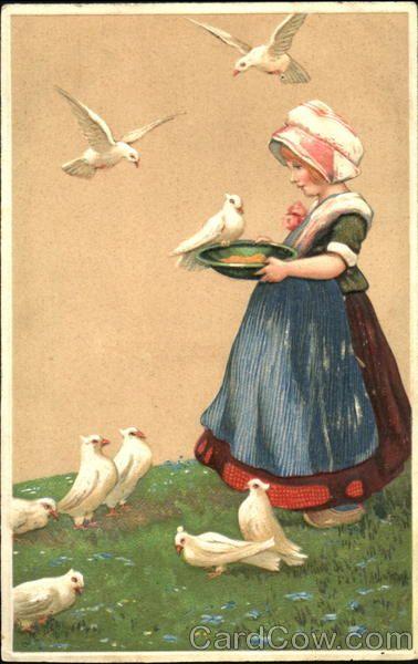 girl feeding birds Dutch Children
