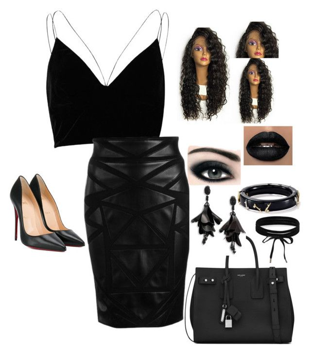 """""""All black item❤️:one color head to toe❤️"""" by lisawijaya ❤ liked on Polyvore featuring River Island, Versace, Christian Louboutin, Yves Saint Laurent, Oscar de la Renta, Boohoo, Alexis Bittar and Max Factor"""