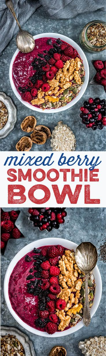 Mixed berry smoothie bowl. A quick, easy, delicious and super healthy breakfast (vegan, gluten free)