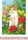Kitten and Butterfly Garden Flag