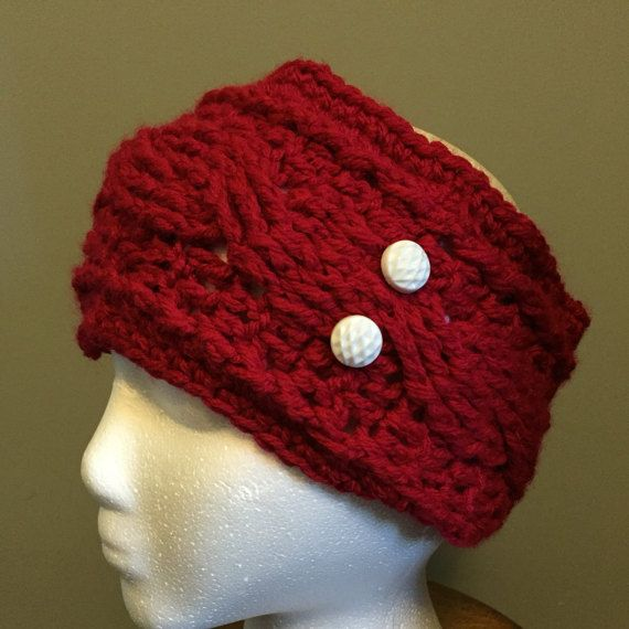 Earwarmer Crocheted Red with White Buttons handmade by DixieCrochet on etsy.ca