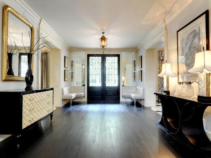 Rustic Contemporary Living Room: Retro Black Console Table White Hallway Decor