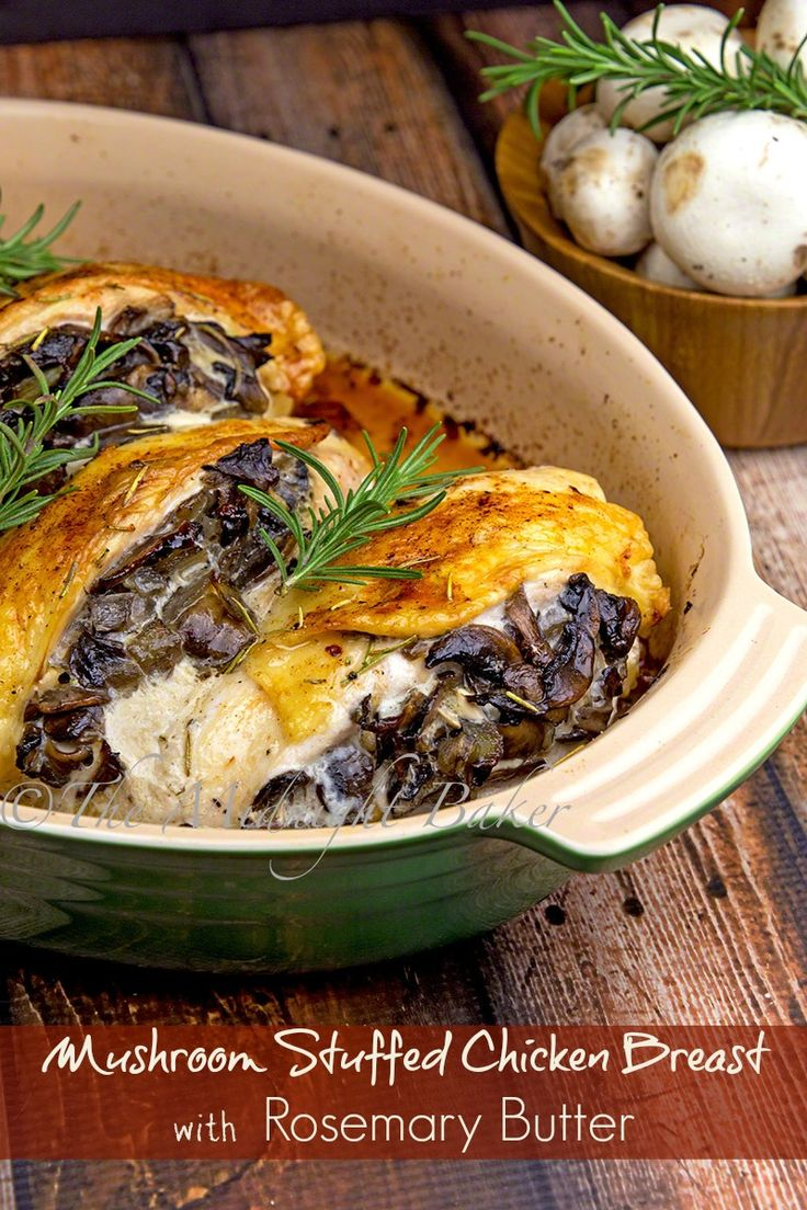 Elegant but easy mushroom stuffed chicken breasts basted with rosemary ...