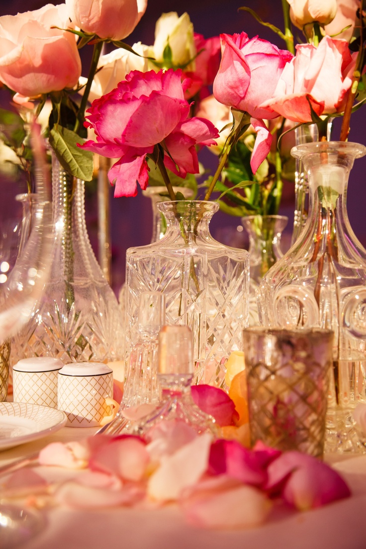 Table Centerpiece Of Crystal Decanters With Roses ~ Nice For A Wedding   ~  A Romantic Anniversary Dinner ~ This Will Make An Impression On Any Lady...........