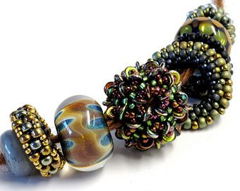Nuts and Washers Beaded Beads Necklace in Browns with Lampwork Glass
