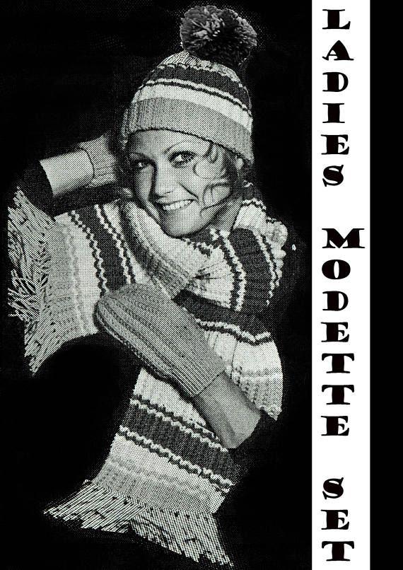 PDF Vintage 1970s Womens Ladies  Knitting Pattern Hat Scarf &