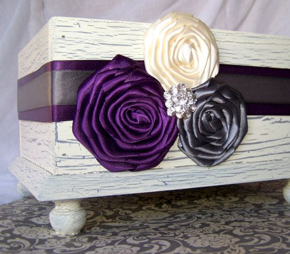 Wedding Card BOX - Ivory Shabby Chic Card Box, Dark Plum, Charcoal Grey and Ivory, Custom colors available on Etsy, $56.00