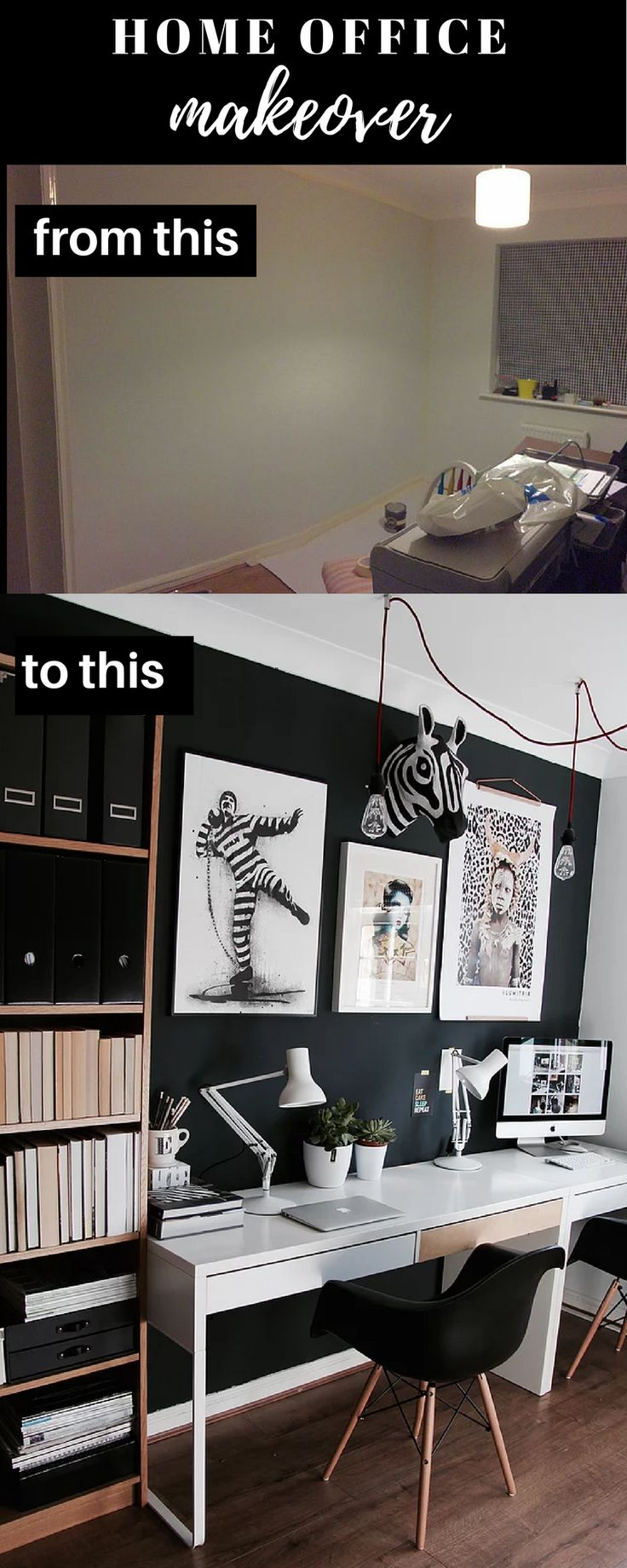 The step by step transformation of my office over a period of months. How I turned this unloved space into something that feels very creative and eclectic. With modern looking black walls (Railings by Farrow and Ball) and suspension lights, I have added my favourite artwork and Anglepoise lamps while retaining the original IKEA desk and bookcase.