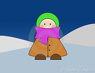Child in winter clothes color