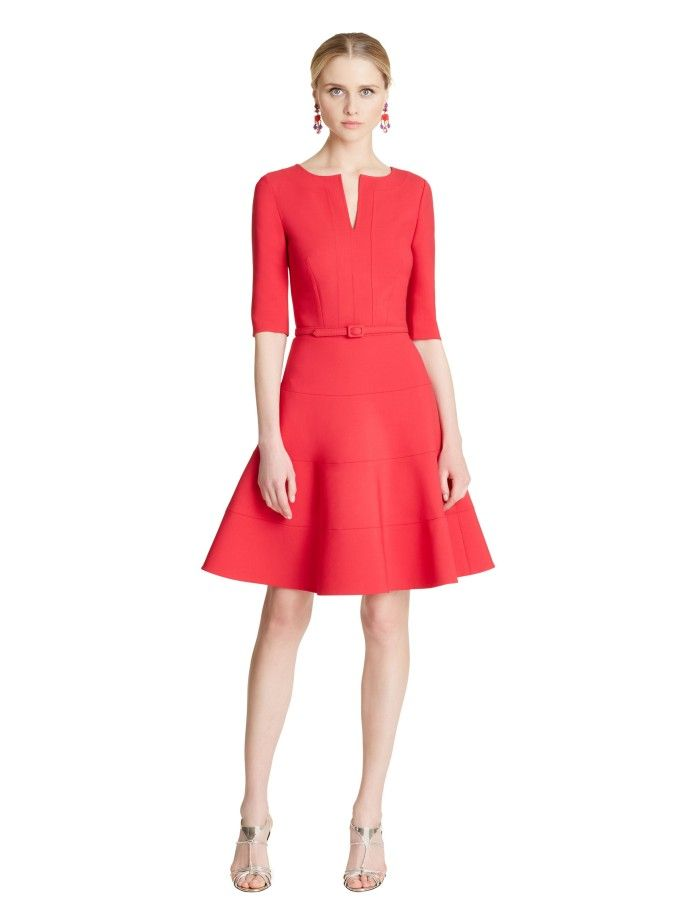 Stretch-Wool 3/4-Sleeve Split-Neck Dress - Dresses - Ready-to-Wear