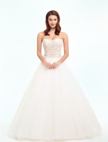 Strapless Princess/Ball Gown Wedding Dress  with Natural Waist in Tulle. Bridal Gown Style Number:32492589