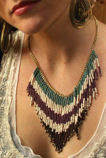 beaded fringe necklace #boho